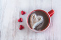 Hot Chocolate Winter Drink With Valentine Hearts Stock Image - 48459581