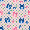 Owl Blue Pink Leaf Seamless Pattern Royalty Free Stock Photo - 48491495