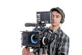 Young Cameraman With Movie Camera Royalty Free Stock Image - 48496796