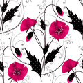 Seamless Floral Pattern With Pink Poppies Background Royalty Free Stock Photos - 48497338