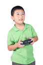 Little Boy Holding A Radio Remote Control (controlling Handset) For Helicopter , Drone Or Plane Isolated Royalty Free Stock Photography - 48509157