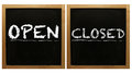 Open And Closed Signs On Framed Blackboard Stock Image - 48514811