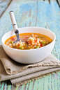 Soup With Small Pasta, Vegetables And Pieces Of Meat Royalty Free Stock Photo - 48525885