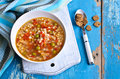 Soup With Small Pasta, Vegetables And Pieces Of Meat Royalty Free Stock Photo - 48526655