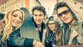 Young Hipster Best Friends Taking A Selfie In Urban City Context Stock Photos - 48528533