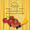 Vector Background Of Spaghetti With Gold Logo, Cherry Tomatoes Royalty Free Stock Photo - 48531845