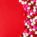 Red Valentines Day Background With Candy Heart Border Stock Image - 48536791