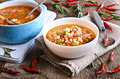 Soup With Small Pasta, Vegetables And Pieces Of Meat Royalty Free Stock Photography - 48541627