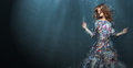 Immersion. Woman In Deep  Blue Sea. Fantasy Royalty Free Stock Photos - 48548768