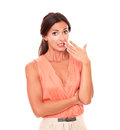 Lovely Hispanic Lady With Hand Gesturing Error Stock Photography - 48551092