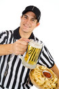 Referee: Ready For Game With Beer And Chips Stock Photography - 48562322