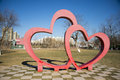 Asian China, Beijing, Grand View Garden Flowers,Modern Architecture, Heart-shaped, Landscape Stock Image - 48576001