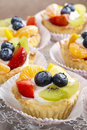 Cupcakes With Cram And Fresh Fruits Royalty Free Stock Images - 48578709