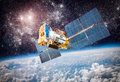 Space Satellite Over The Planet Earth Royalty Free Stock Image - 48582766