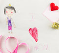 I Love Mother - Child Drawing Royalty Free Stock Photos - 48588728