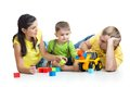 Kid With His Parents Play Building Blocks Stock Photo - 48590000
