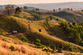 A Landscape Shot Of Rolling Hills And Dry Brush On A Trail Royalty Free Stock Images - 48590899