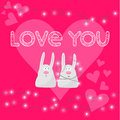Funny Cartoon Rabbits Couple, Hand-drawing Love Words, Lights On Garland And Heart For Use In Design For Valentines Day Or Wedding Royalty Free Stock Photos - 48600478