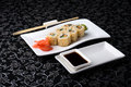 California Rolls Sushi With Pickled Ginger, Vasabi And Soy Sauce In The Plate Royalty Free Stock Photography - 48601377