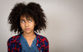 Young Teenage Girl With Afro Hair Thinking Royalty Free Stock Photography - 48601417