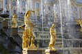 Grand Cascade Fountains At Peterhof Palace, St. Petersburg. Royalty Free Stock Photo - 48614495