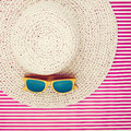 Plastic Sunglasses On A Laced Summer Hat For Women Royalty Free Stock Photo - 48622285