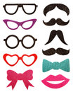Party Accessories, Eyeglasses, Mustache, Isolated On White Stock Photos - 48623963