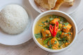 Indian Green Curry With Basmati Rice And Papadums Royalty Free Stock Photography - 48625167