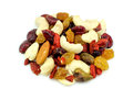 Macro Closeup Of Mixed Nuts And Dried Fruits Isolated On White Royalty Free Stock Photography - 48626467