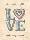 Hand Drawn Love Poster Stock Photo - 48628930