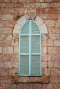 Jerusalem S Ancient Building S Wall With Blue Aqua Window Shutters. Retro Filtered Image Stock Photography - 48636322