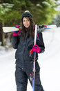 Portrait Of Beautiful  Woman With Ski And Ski Suit In Winter Mountain Royalty Free Stock Photography - 48638567
