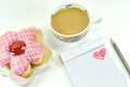 Yummy Donut, Lovely Notepad And Coffee Royalty Free Stock Images - 48639299