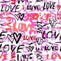 Pattern With Hand Painted Words Love Stock Photography - 48640402