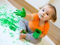 Little Girl With Paint Stock Photos - 48641813