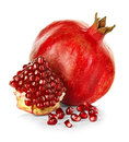 Ripe Pomegranates Isolated On A White Stock Image - 48642951