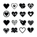 Assorted Designs Of Black Silhouette Hearts Icons Set Stock Photos - 48644993
