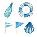 Nautical Design Elements Hand Painted In Watercolor. Bottle With Messsage, Life Buoy, Blue Signal Flags And Shell. Artistic Vector Stock Photography - 48650752