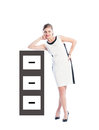 Business Woman Resting On Cabinet File Stock Photos - 48660583