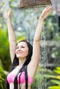 Sexy Woman With Long Hair In Bikini Under The Shower On Tropical Beach Stock Images - 48667534