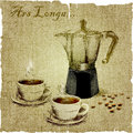 Hand Drawing Of Coffee Maker And Two Cups Of Coffee On The Canvas.  Illustration Stock Photos - 48700713