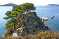 Pines Of The Beautiful Rocky Peninsula On The Skiathos Island Royalty Free Stock Images - 48703409