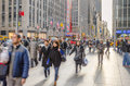 Sidewalk Crowded With Tourists And Locals In Midtown Manhattan Royalty Free Stock Image - 48707106