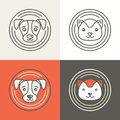 Vector Dog And Cat Icons And Logos Royalty Free Stock Photos - 48710378