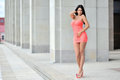 Full Length Portrait Of A Sexy Brunette Woman In Little Pink Fas Royalty Free Stock Photo - 48714845