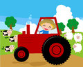 A Farmer Riding A Tractor Working In His Farm Stock Photography - 48730552