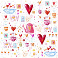Love Background Made Of Red Hearts, Flowers.Seamless Pattern Can Be Used For Wallpaper, Pattern Fills, Web Page Background, Postca Royalty Free Stock Photo - 48731905