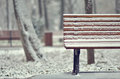 Simple Wooden Bench In Snowy Stock Image - 48734791
