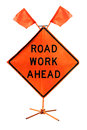 Road Work Ahead - American Road Sign Isolated On White Backgroun Stock Images - 48734974