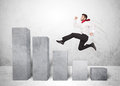 Successful Business Man Jumping Over Charts On Background Stock Images - 48737204